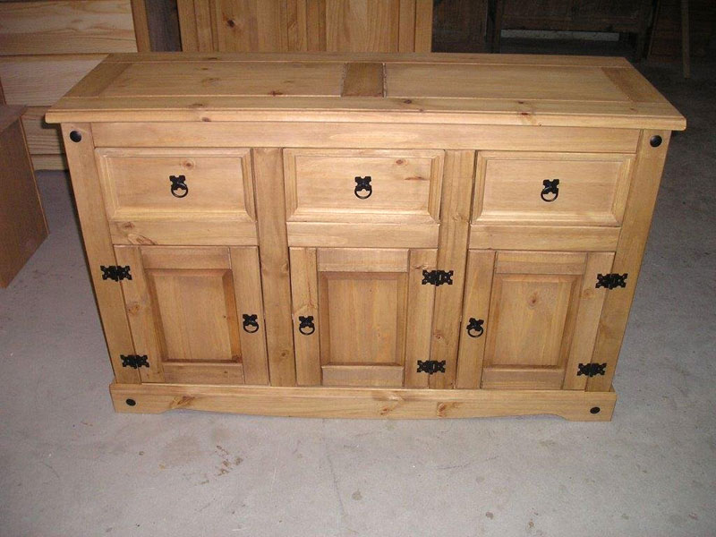 Corona Pine 3 Door 3 Drawer Sideboard Mexican Style Corona Pine 3 Door 3 Drawer Sideboard
