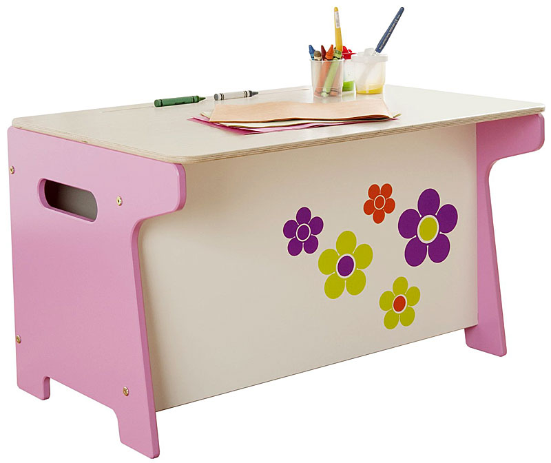 Millhouse Children's Flower Wooden Toy Box and Desk