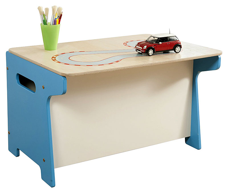 Millhouse Children's Race Track Wooden Toy Box and Desk