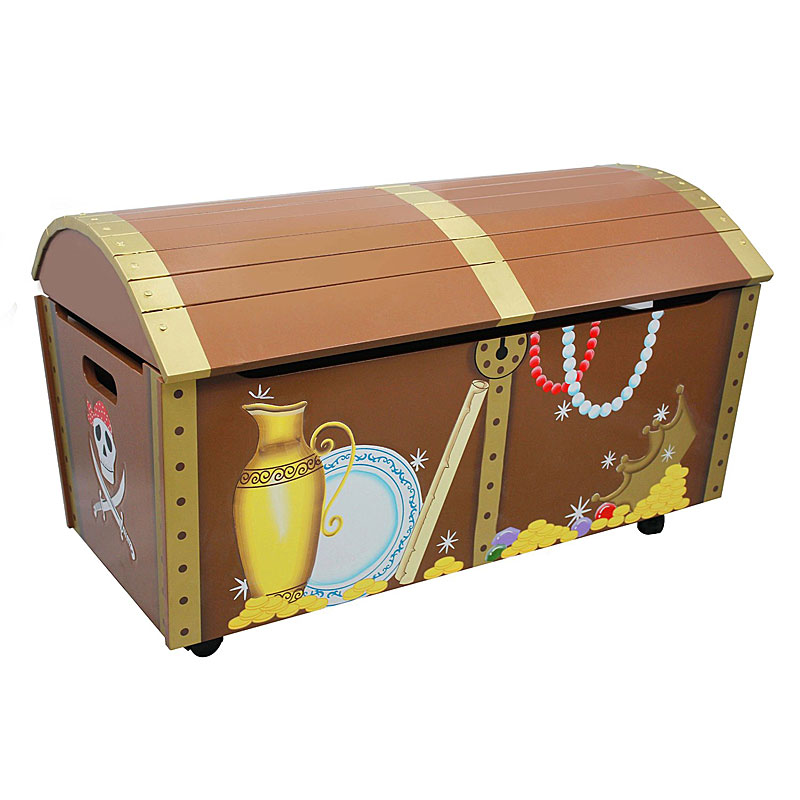 Pirate Island Wooden Storage Trunk Toy and Treasure Chest