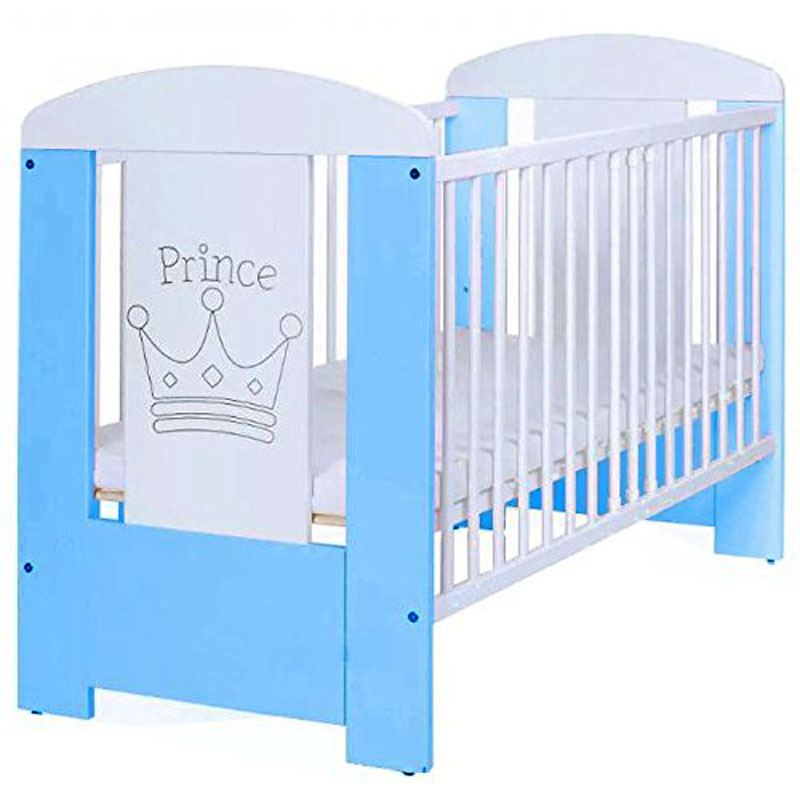 Adorable Blue Prince Baby Cot Bed with Mattress