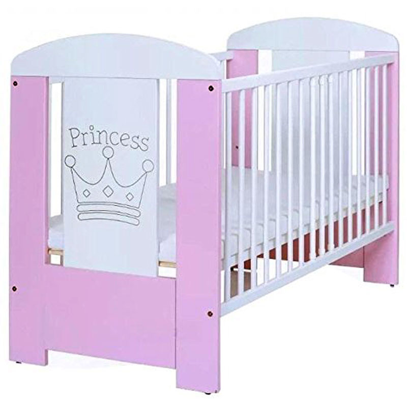 Adorable Pink Princess Baby Cot Bed with Mattress