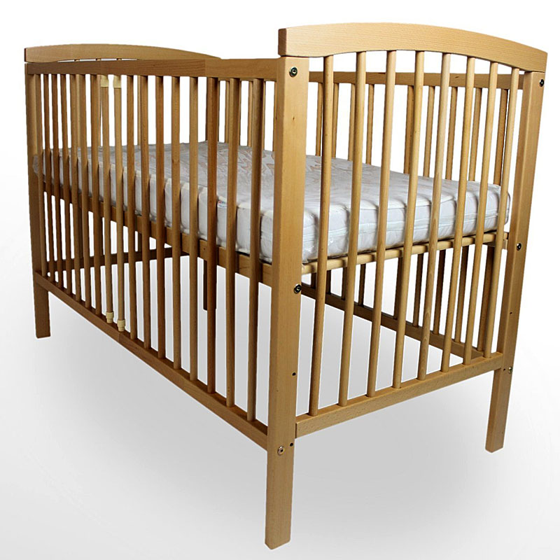Baby Cot Beech Wood Bed 120cm x 60cm with Mattress