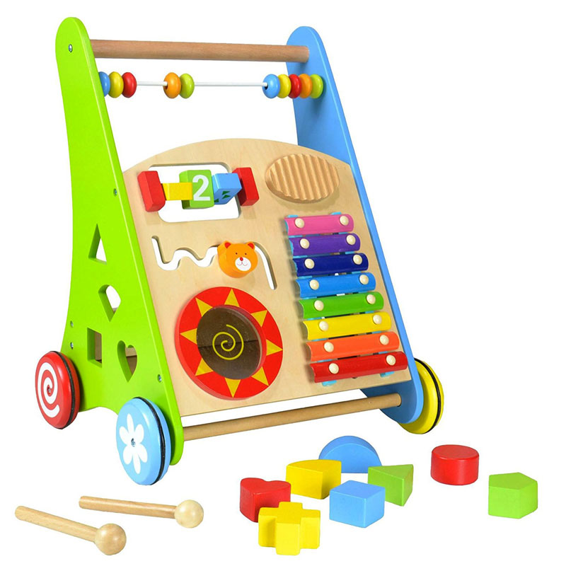 Pintoy Wooden Baby Walker with 24 wooden alphabet blocks