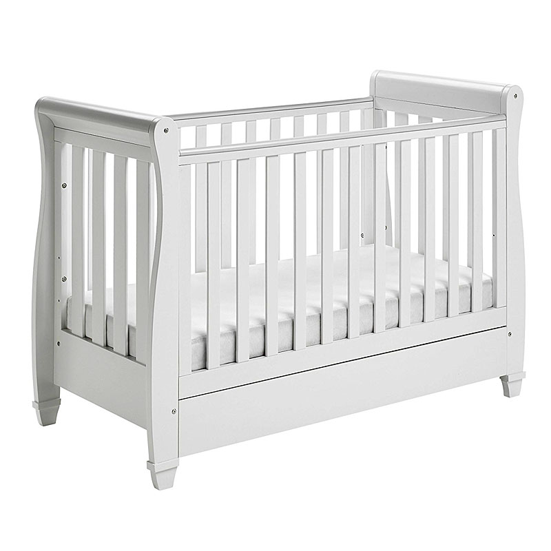 Babymore Eva Sleigh Cot Bed Dropside with Drawer