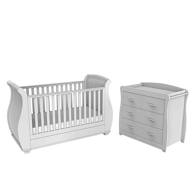 Babymore Bel 2 Piece Baby Room Set - White
