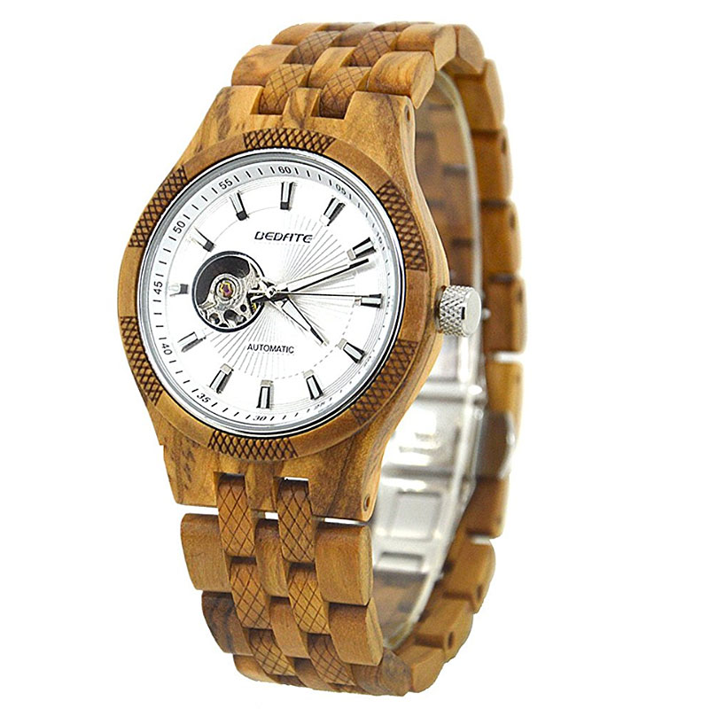 Bedate Men's Olive Wood Mechanical Hand-wind Wrist Watch