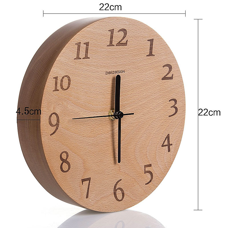 Beladesign 10-Inch Beech Wooden Silent Wall Clock