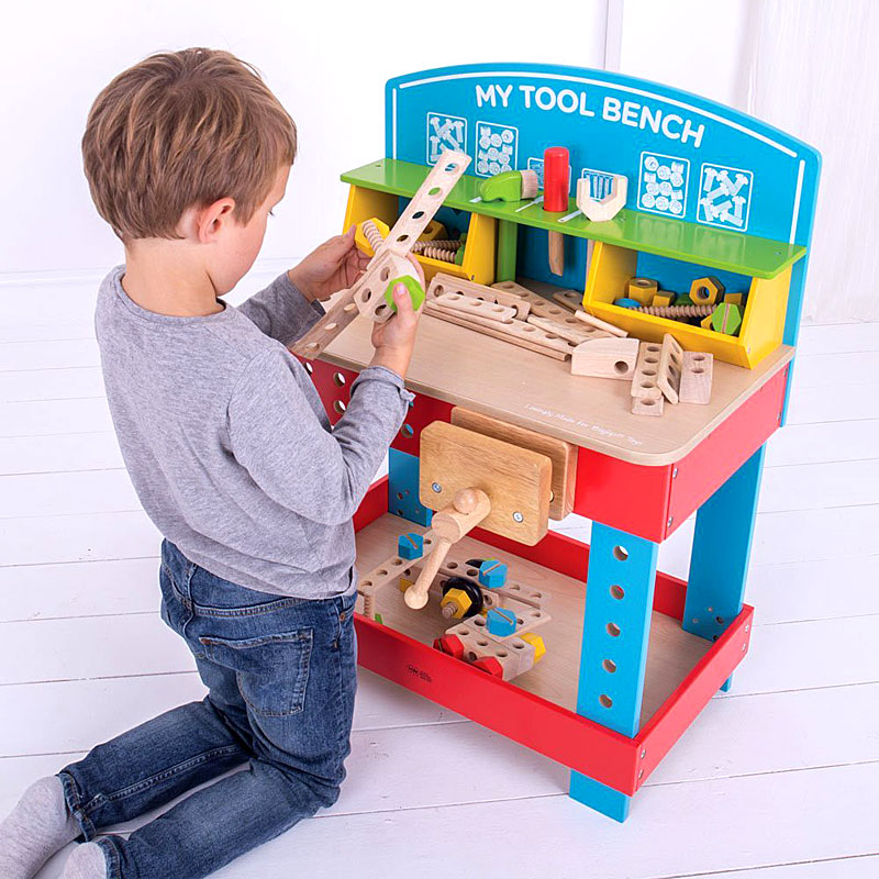 Bigjigs Toys Children S My Wooden Tool Bench With Toy