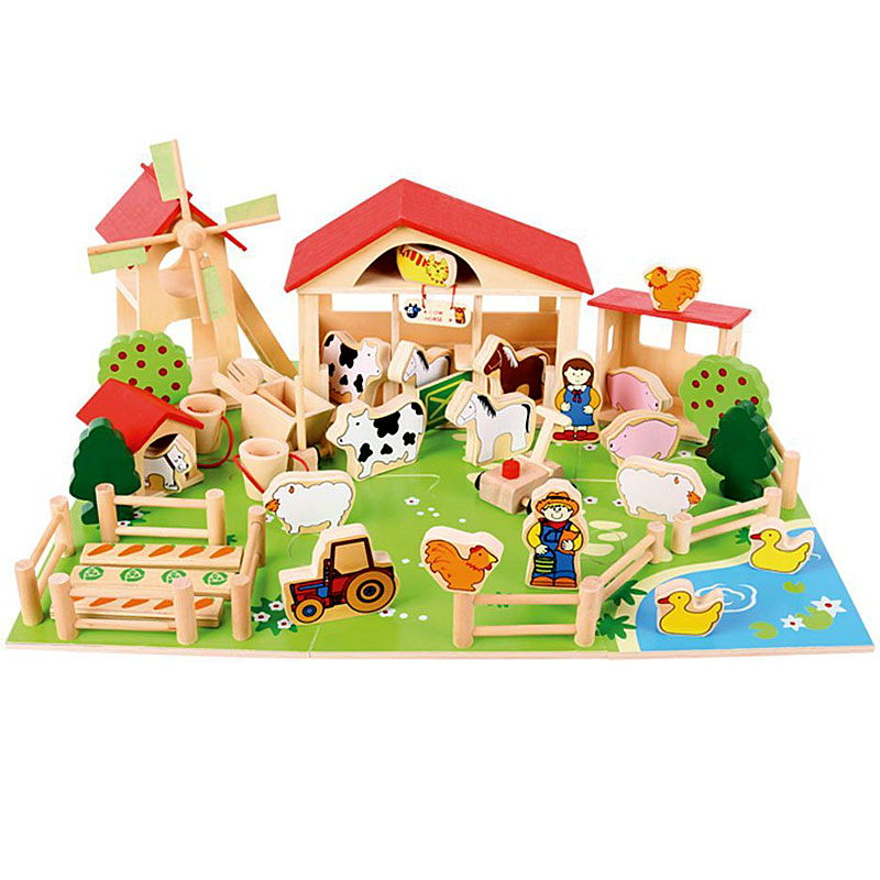 Bigjigs Toys Wooden Play Farm - 48 Play Pieces - Suitable for 3+