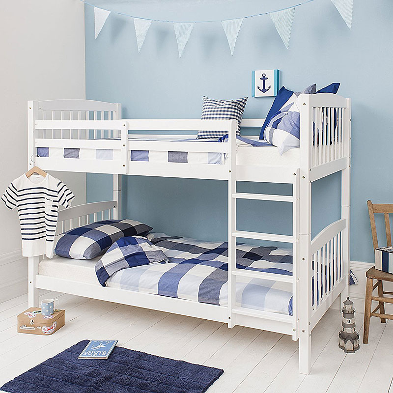 Bunk Beds Wooden Single White Pine