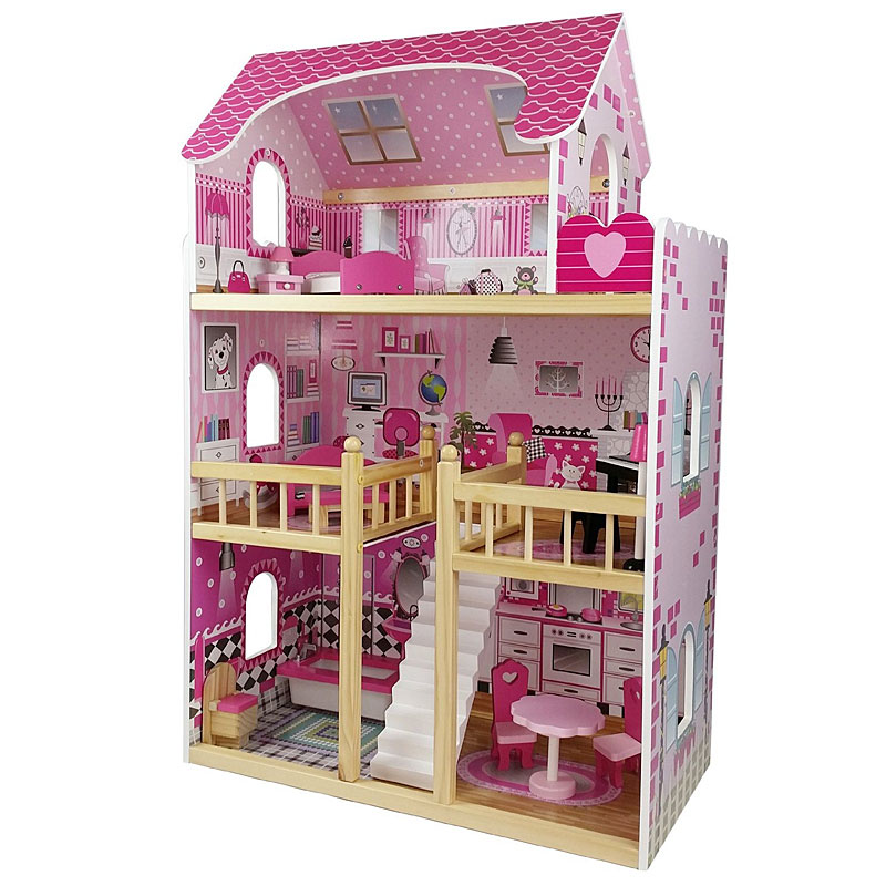 Butternut 3 Storey Wooden Dolls House & Accessories