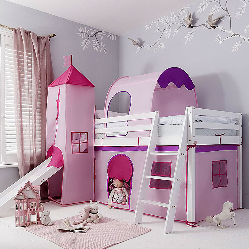 Cabin Bed with Slide Kids Midsleeper in Pink Hideaway