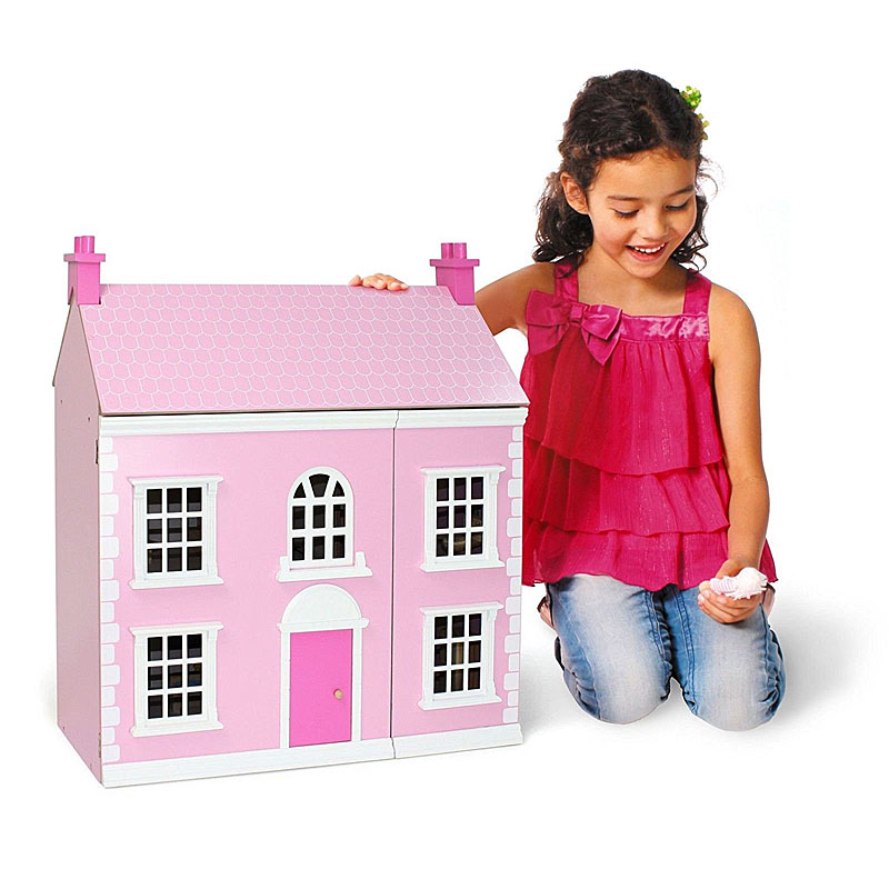 Chad Valley Wooden 3 Storey Dolls House - Pink.