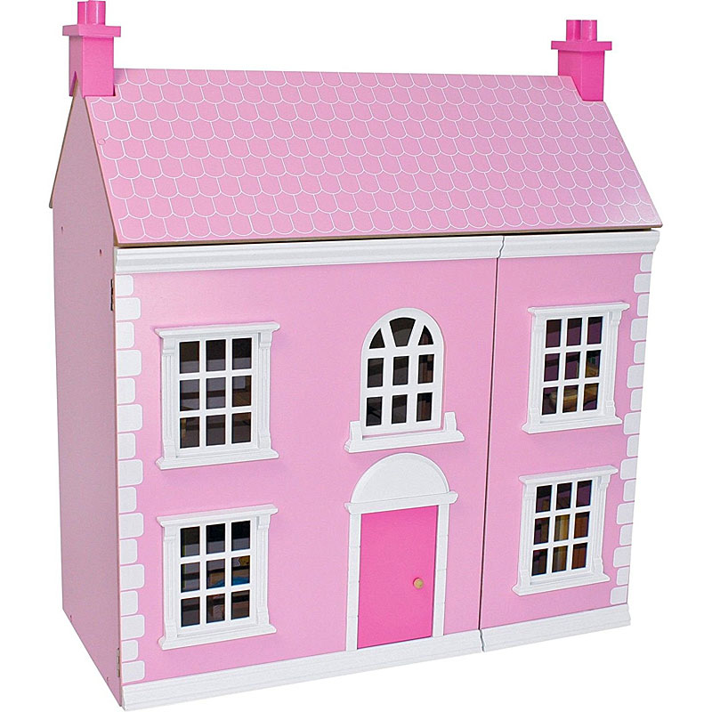 Chad Valley Wooden 3 Storey Dolls House Pink Chad Valley Wooden 3