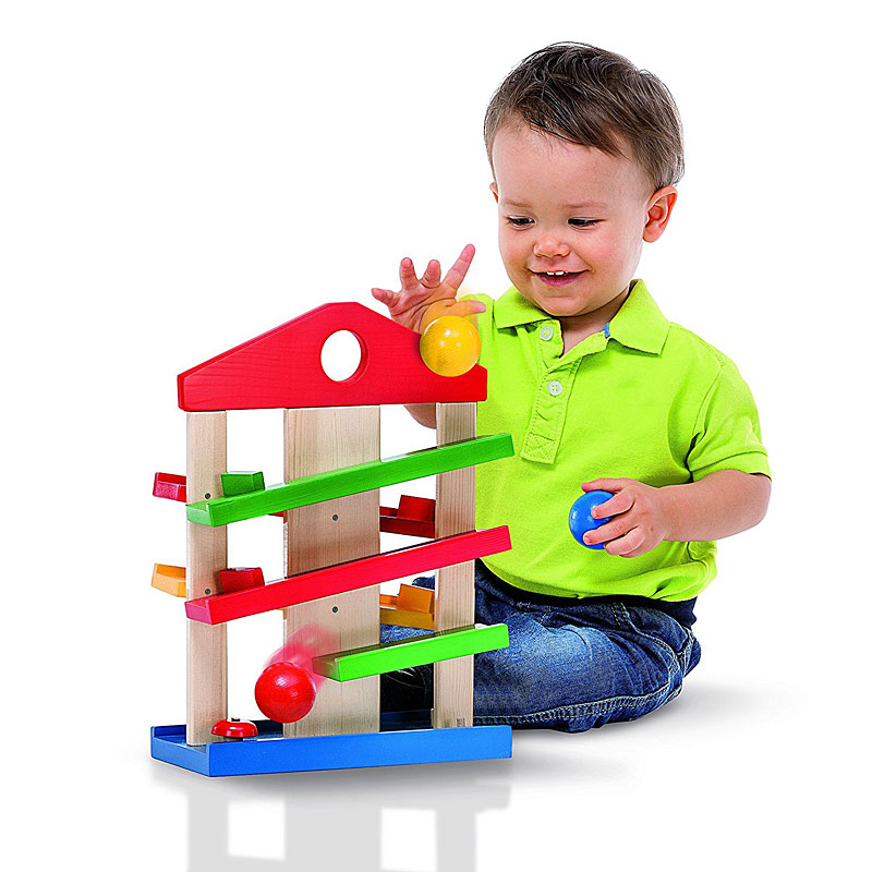 Eichhorn Marble Run House with safe wooden marbles