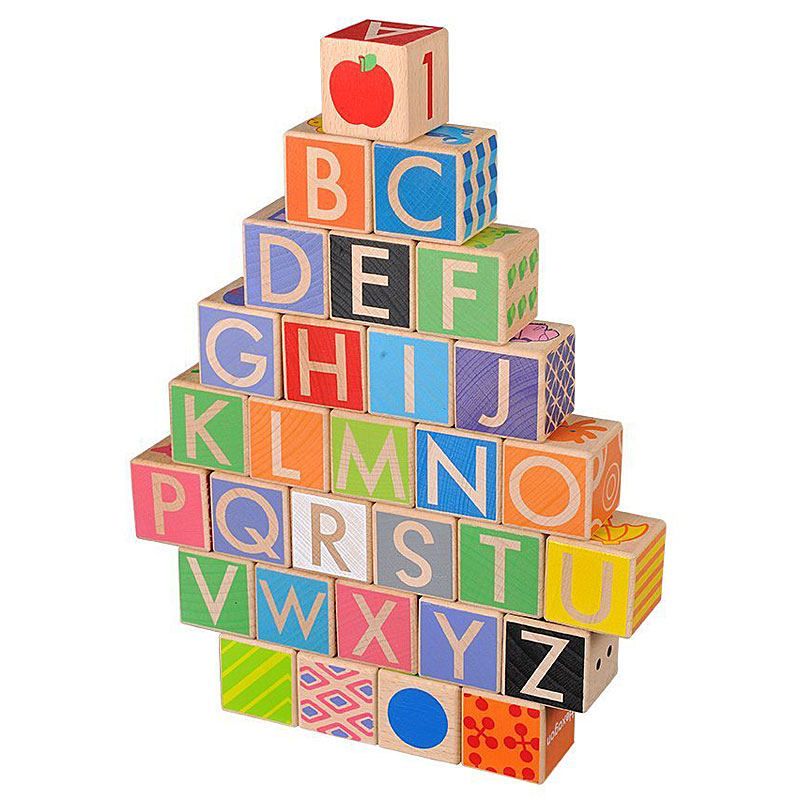 Everearth Childrens Wooden Baby Walker with Alphabet Blocks
