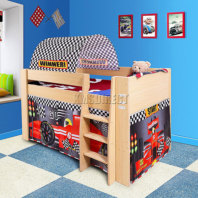 FoxHunter Childrens Wooden MDF Mid Sleeper Cabin Bunk Bed