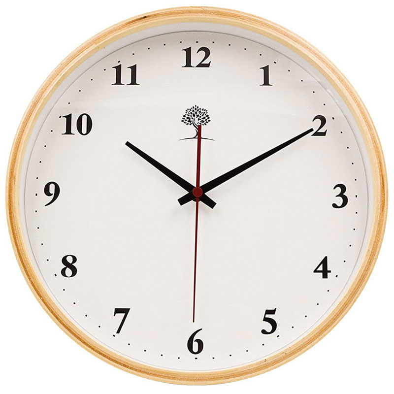 "Hippih 10"" Silent Wooden Wall Clock"
