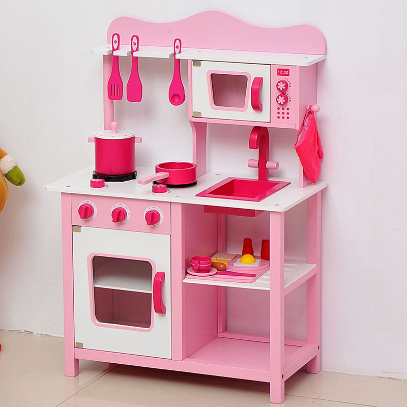 Crafted from wood beautiful wooden toys and gifts for Kitchen set pink