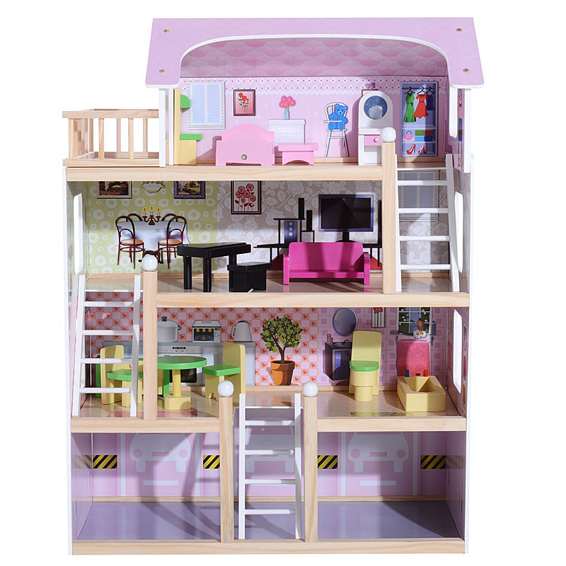 HOMCOM Deluxe Wooden Kids Doll House with 13 Piece Furniture