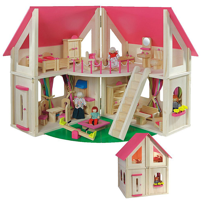 Howa Wooden Doll's House with Furniture and Dolls
