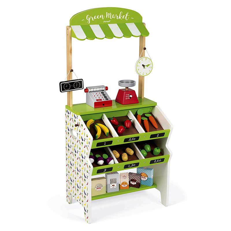 Janod J06574 Market Stall Grocery Game - Green
