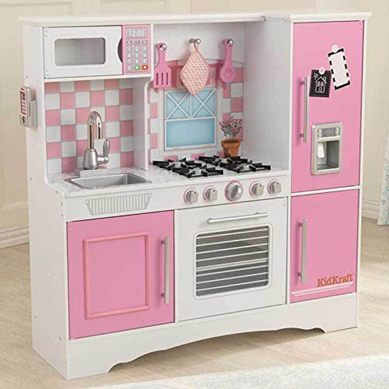 KidKraft Culinary Wooden Play Kitchen White and Pink