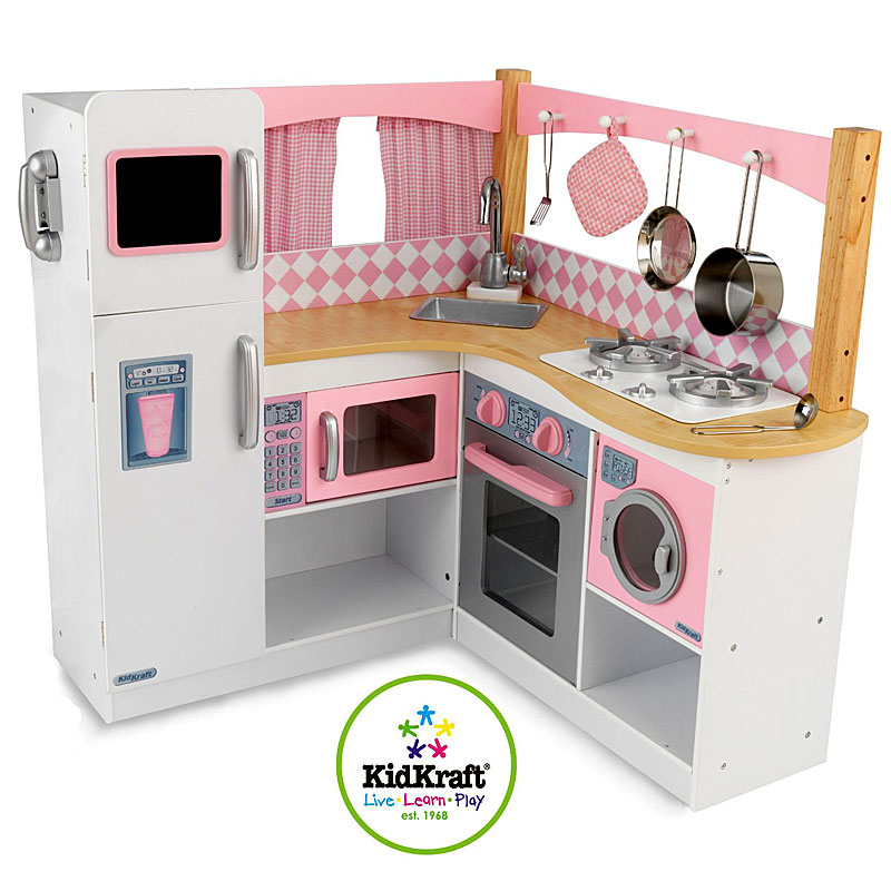Kidkraft Gourmet Wooden Corner Play Kitchen Toy