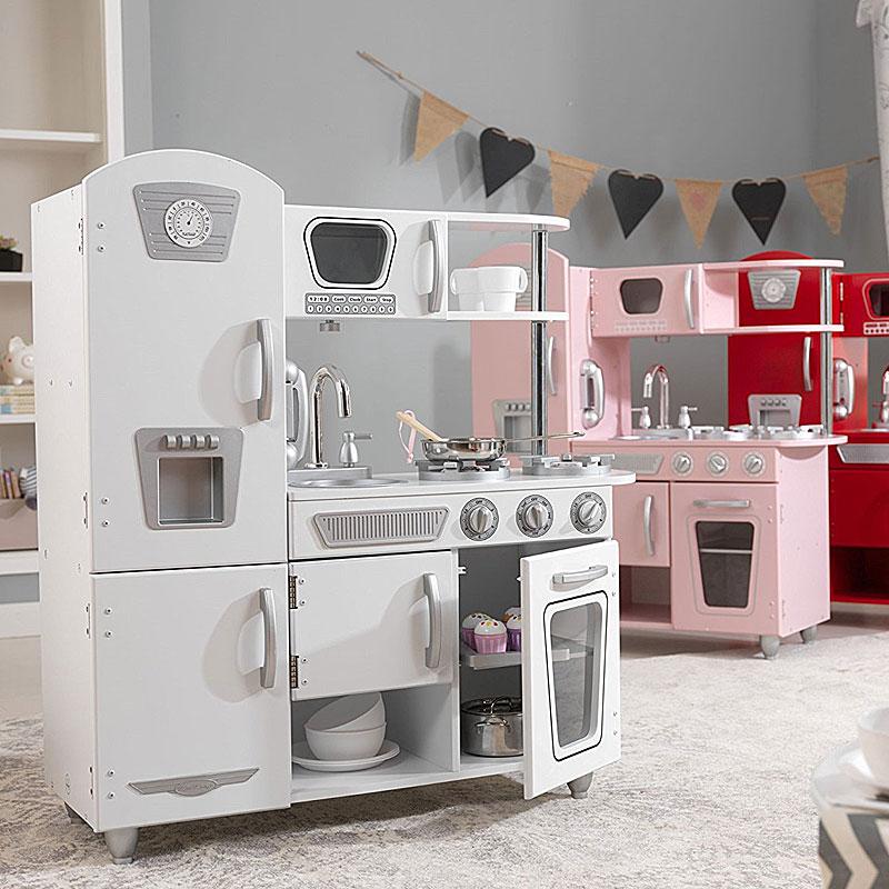 kidkraft - vintage play kitchen - pink wooden toy kitchen