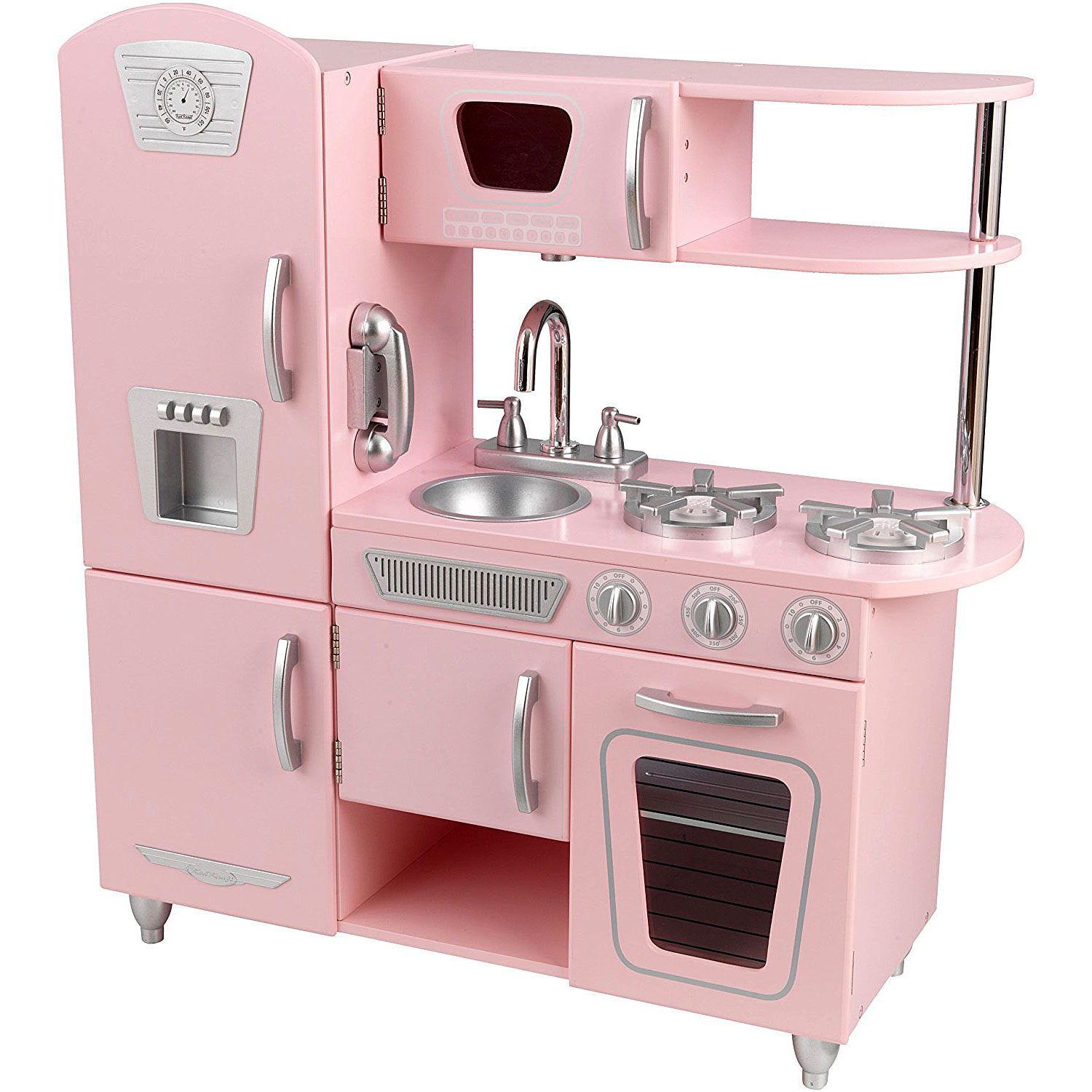 KidKraft - Vintage Play Kitchen - Pink Wooden Toy Kitchen 53179
