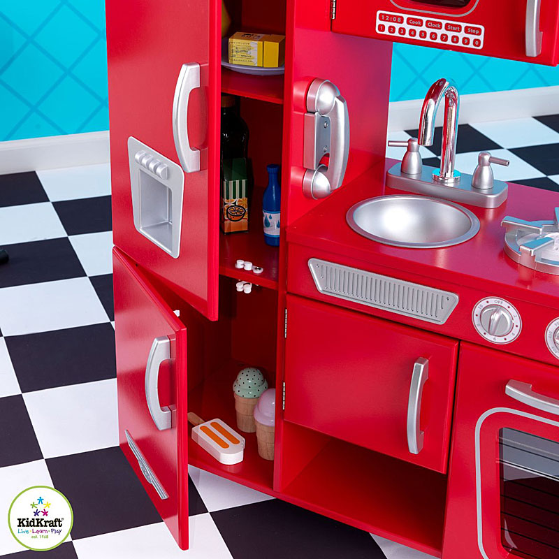 Kidkraft Red Vintage Kitchen 53173: Kidkraft Vintage Wooden Play Kitchen Set