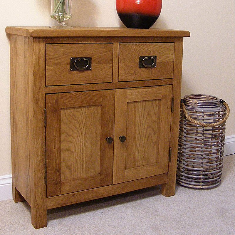 Lanner Oak Mini Sideboard - 2 Drawers and 2 Cupboards