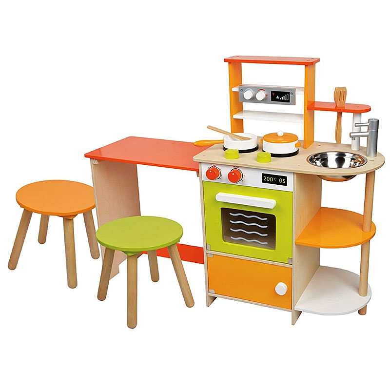 Lelin Wooden Childrens 2 in 1 Pretend Play Kitchen and Dining Ro