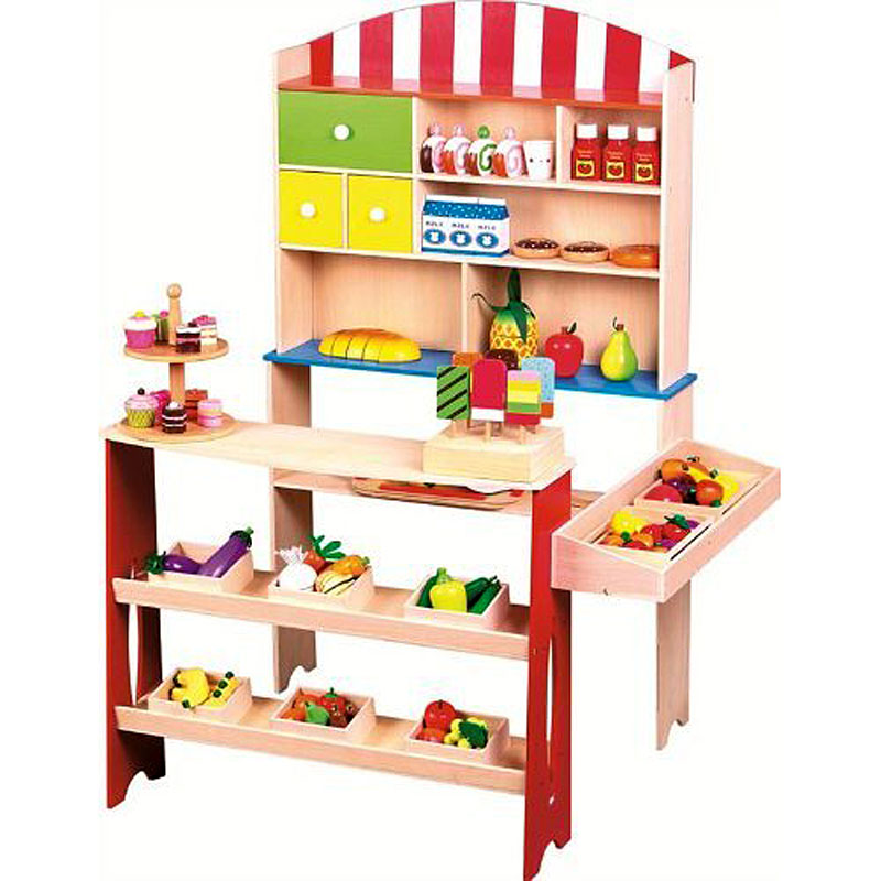 Lelin Wooden Childrens Corner Village Play Shop - Supermarket