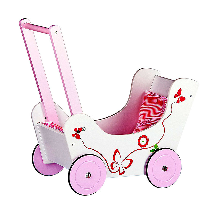 Leomark classic wooden pram doll's buggy baby walker with beddin