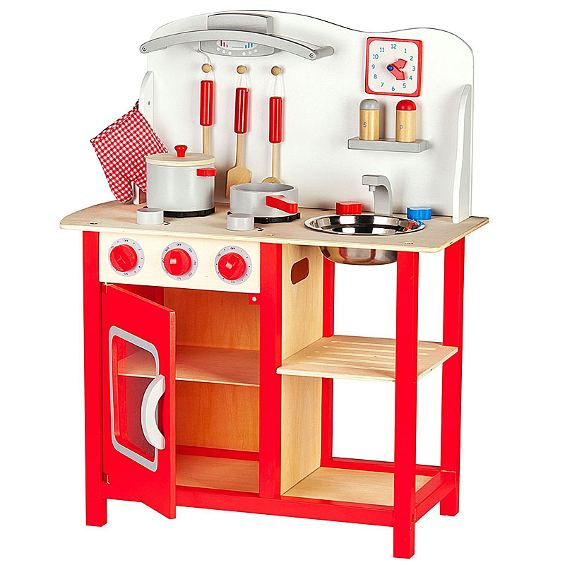 Leomark Classic Wooden Play Kitchen - Cooking Set