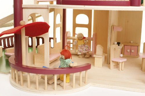 Leomark Wooden Doll's House with Terrace and furniture set