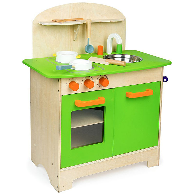Mamakiddies Wooden Kitchen Children's Cooking Role Play Set