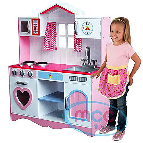 MCC Large Girls Kids Pink Wooden Play Kitchen