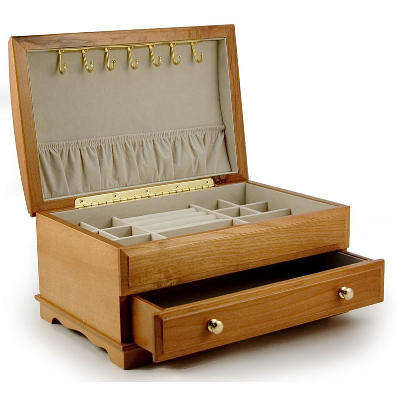 "Mele ""Elise"" Inlayed Oak Finish Wooden Jewellery Box Reviews"