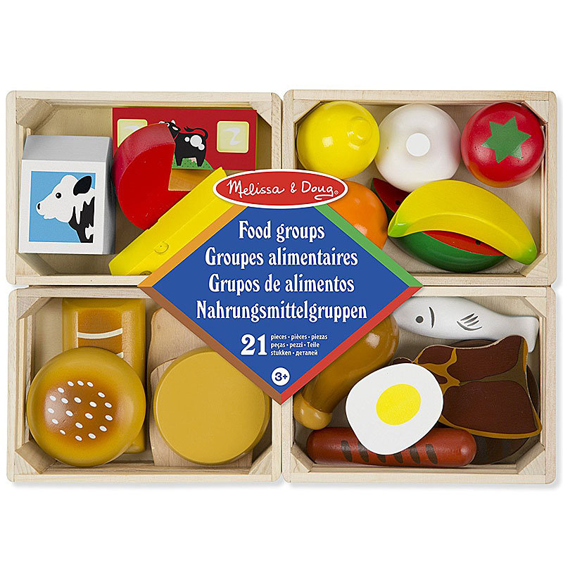 Melissa & Doug Play Food Groups - 21 Hand-Painted Wooden Pieces