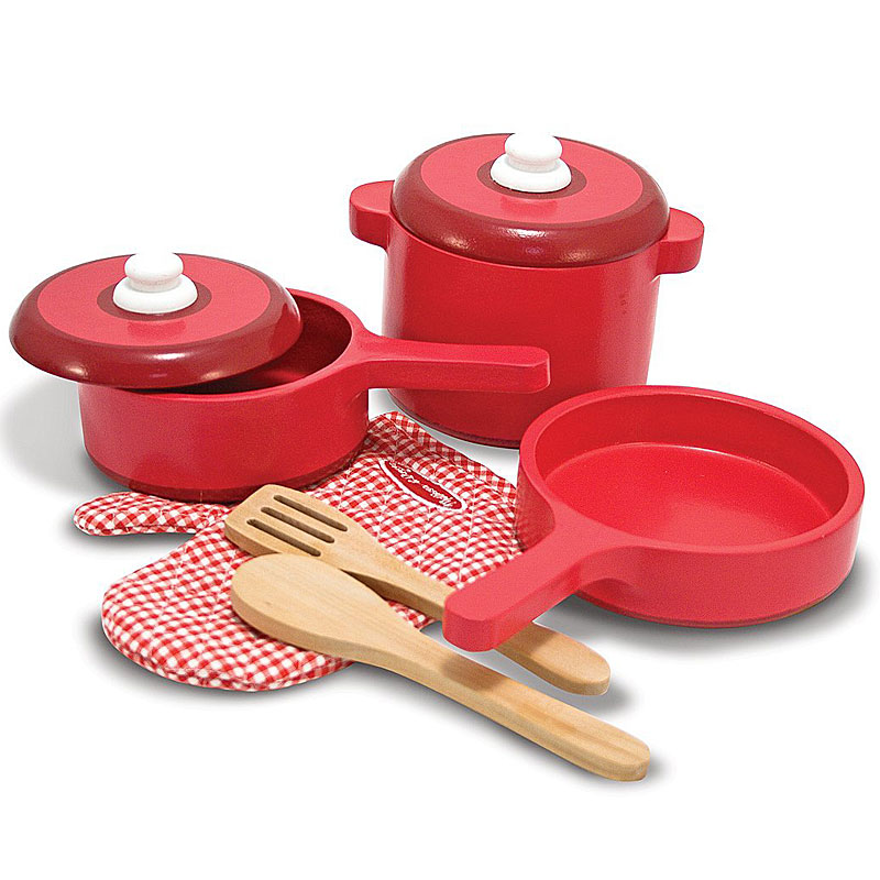 Melissa & Doug Deluxe Wooden Kitchen Accessory Set - Pots & Pans