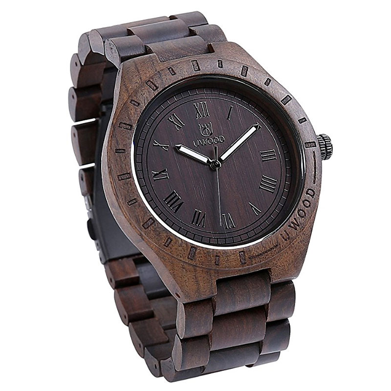 Men's Watch Ebony Wooden Watch Analog Quartz Watches for Men
