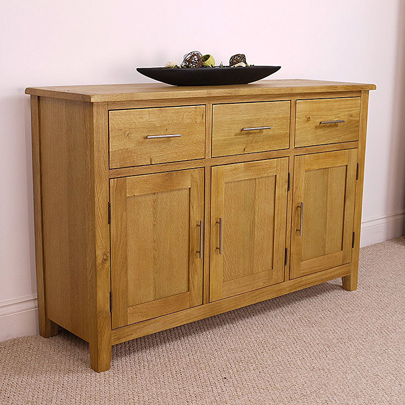 Nebraska Oak - Large Sideboard / 3 Door 3 Drawer Storage Dresser