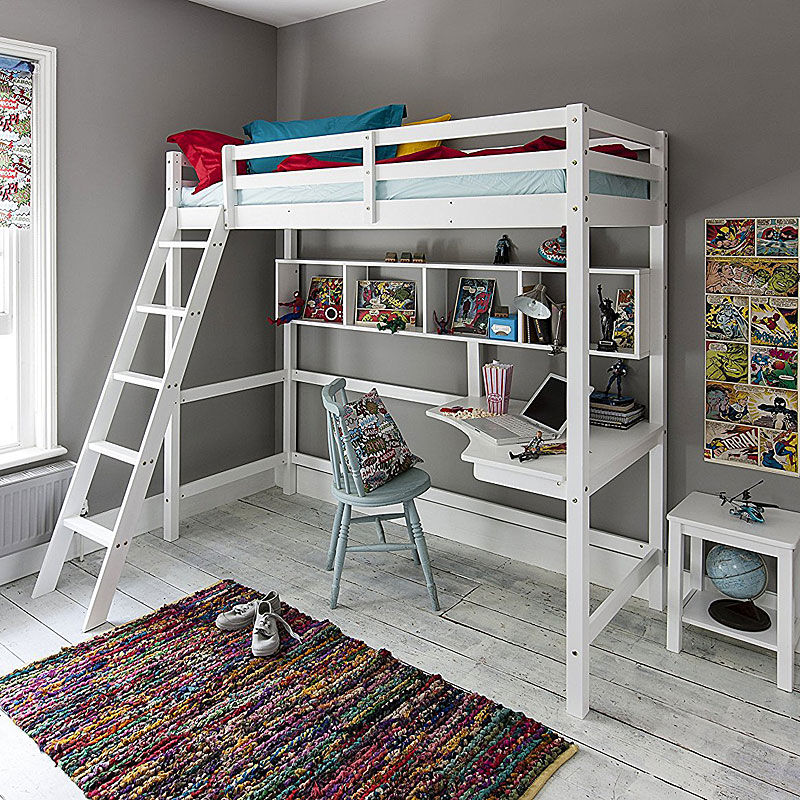 Cabin Bed High Sleeper with Desk in WHITE