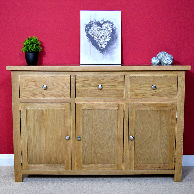 Oaksby Large Oak Sideboard / Oak Cupboard Storage Dresser