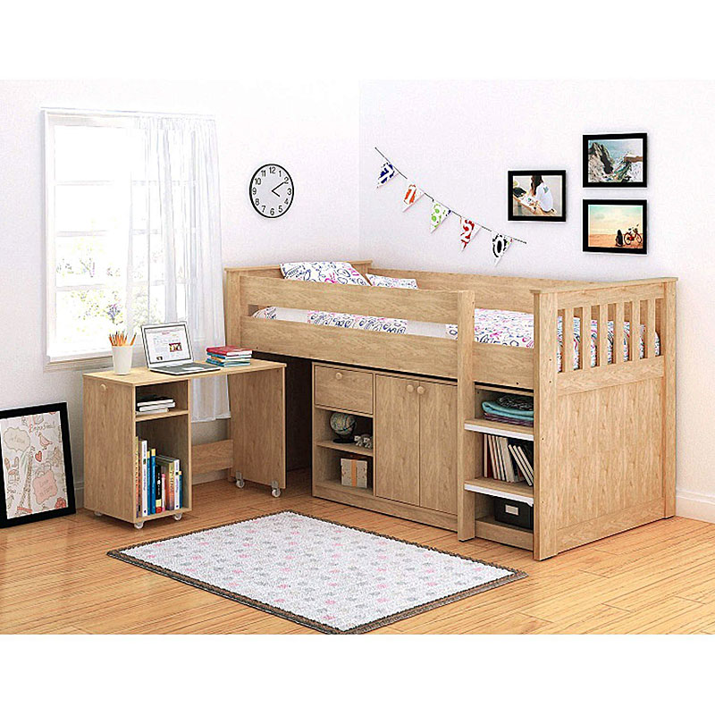 Seconique Merlin Study Bed Bunk Bed Oak Effect