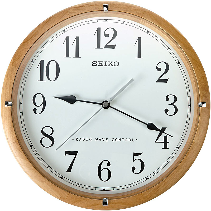 Seiko QXR303Z Radio Controlled Wooden Wall Clock