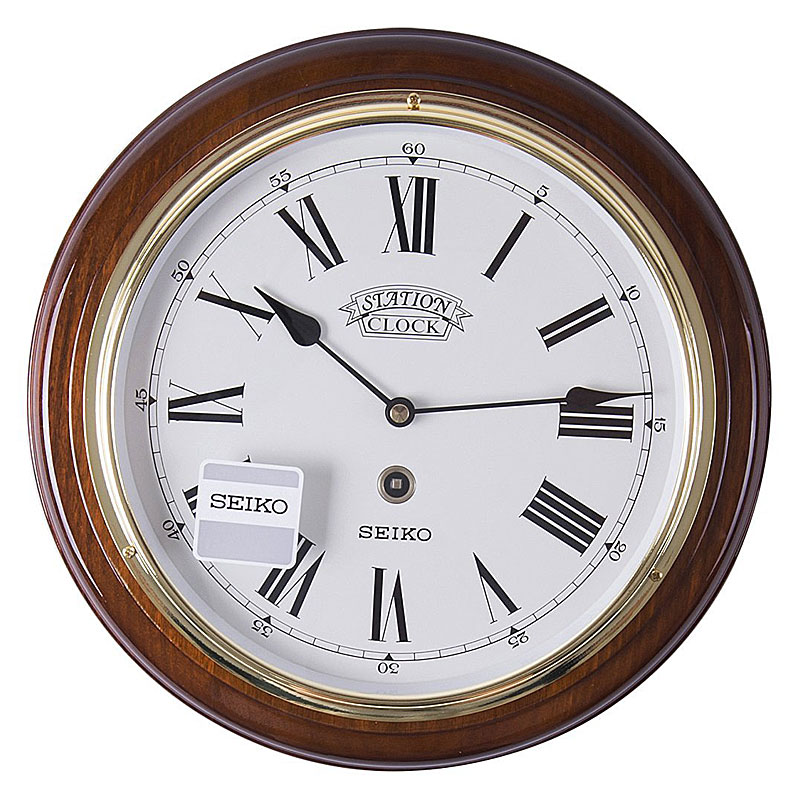Seiko QXA143B Round Wooden Station Wall Clock